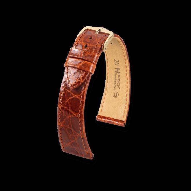 Uhren-Armband Hirsch Genuine Croco Braun Uhren-Armband mit goldfarbener Dornschließe   Anstoßbreite 14 mm   Länge 18 cm bei Brogle