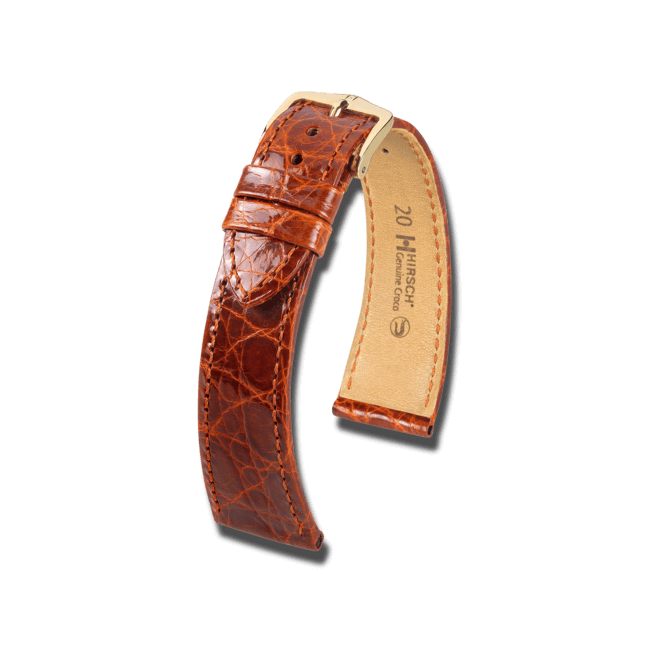 Uhren-Armband Hirsch Genuine Croco Goldbraun Uhren-Armband mit goldfarbener Dornschließe   Anstoßbreite 16 mm   Länge 18 cm bei Brogle