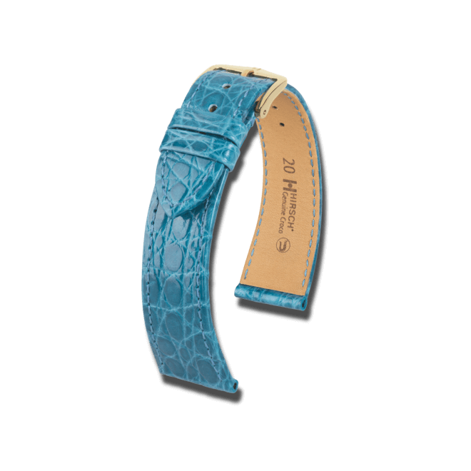 Uhren-Armband Hirsch Genuine Croco Rosa Uhren-Armband mit goldfarbener Dornschließe   Anstoßbreite 20 mm   Länge 20 cm bei Brogle
