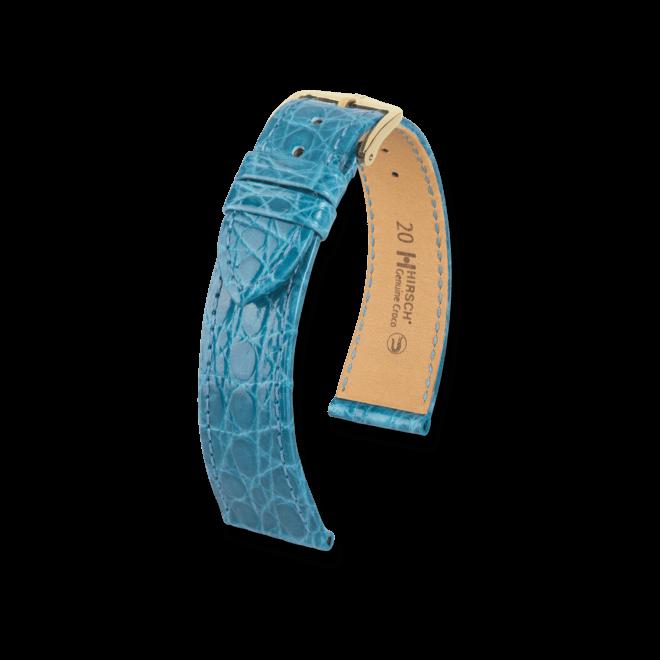 Uhren-Armband Hirsch Genuine Croco Türkis Uhren-Armband mit goldfarbener Dornschließe | Anstoßbreite 13 mm | Länge 18 cm