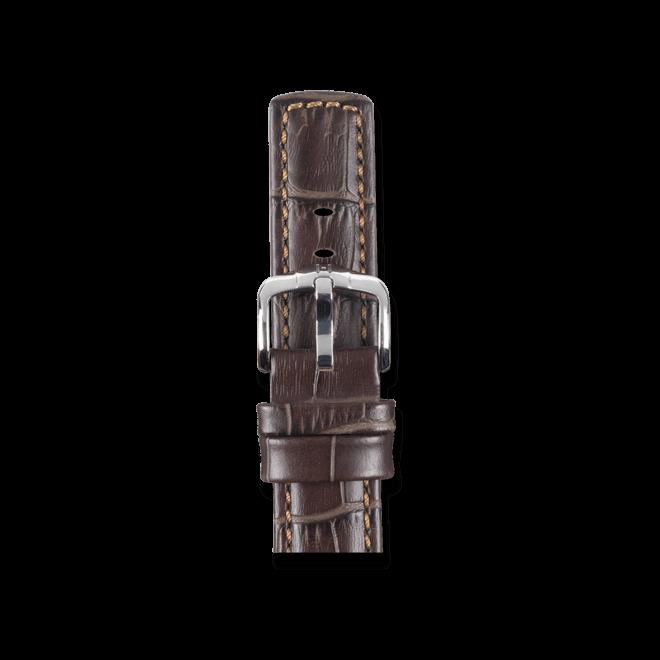 Uhren-Armband Hirsch Grand Duke Braun Uhren-Armband mit silberfarbener Dornschließe | Anstoßbreite 22 mm | Länge 22 cm bei Brogle