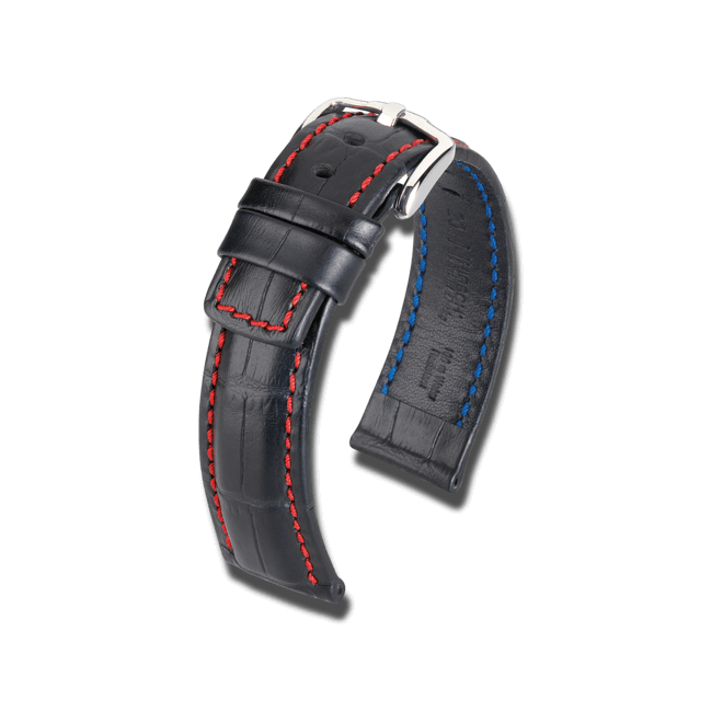 Uhren-Armband Hirsch Grand Duke Schwarz Uhren-Armband mit silberfarbener Dornschließe   Anstoßbreite 20 mm   Länge 20 cm bei Brogle