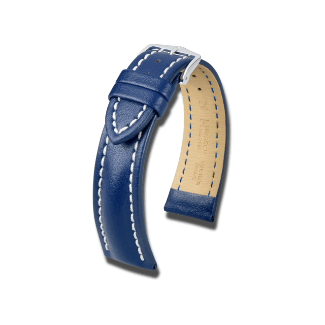 Uhren-Armband Hirsch Heavy Calf Braun Uhren-Armband mit silberfarbener Dornschließe   Anstoßbreite 20 mm   Länge 20 cm bei Brogle