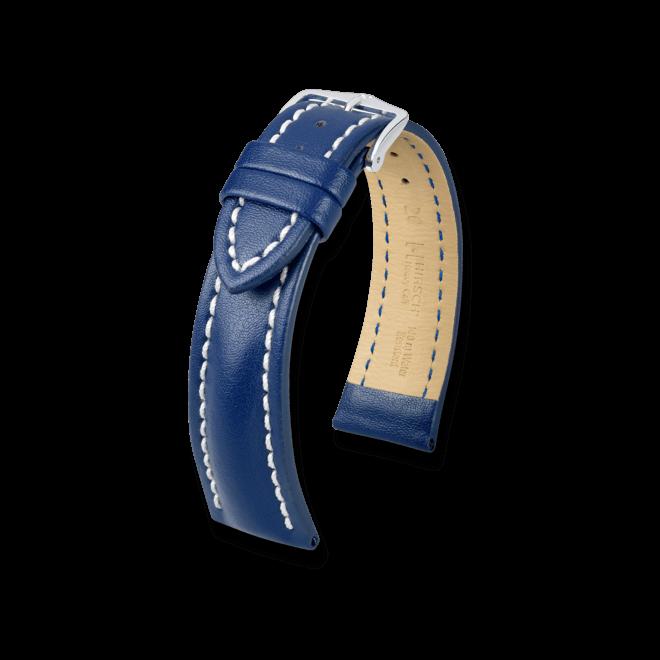 Uhren-Armband Hirsch Heavy Calf Schwarz Uhren-Armband mit silberfarbener Dornschließe   Anstoßbreite 20 mm   Länge 20 cm bei Brogle