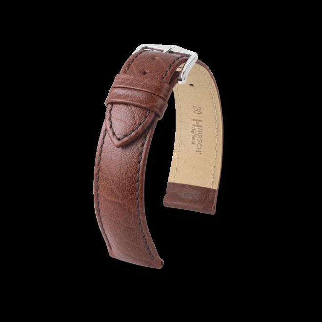 Uhren-Armband Hirsch Highland Braun Uhren-Armband mit silberfarbener Dornschließe | Anstoßbreite 19 mm | Länge 20 cm bei Brogle