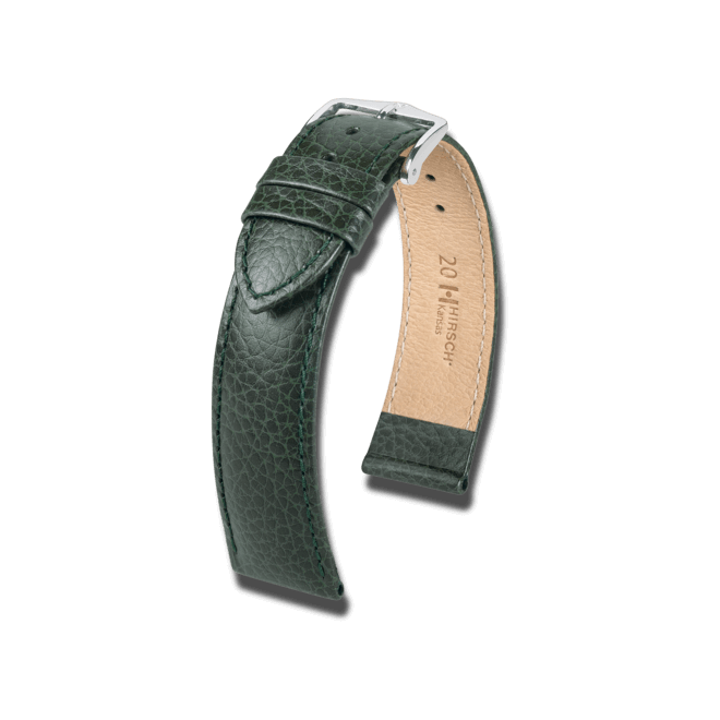Uhren-Armband Hirsch Kansas Grün Uhren-Armband mit silberfarbener Dornschließe   Anstoßbreite 16 mm   Länge 20 cm bei Brogle