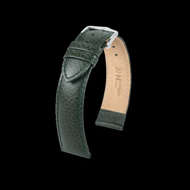 Uhren-Armband Hirsch Kansas Schwarz Uhren-Armband mit silberfarbener Dornschließe | Anstoßbreite 20 mm | Länge 22 cm
