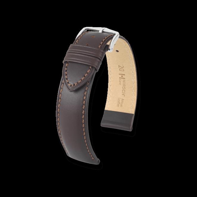 Uhren-Armband Hirsch Kent Braun Uhren-Armband mit silberfarbener Dornschließe   Anstoßbreite 18 mm   Länge 20 cm bei Brogle