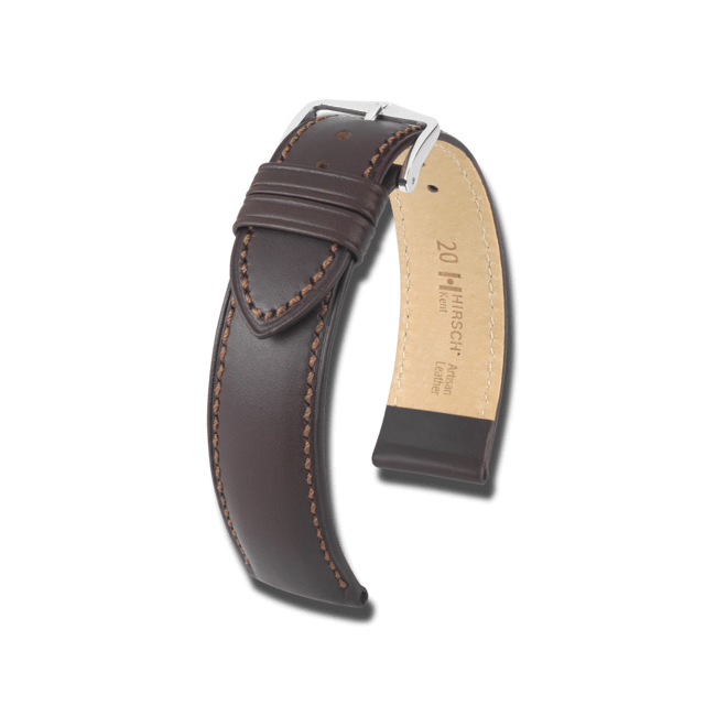 Uhren-Armband Hirsch Kent Braun Uhren-Armband mit silberfarbener Dornschließe   Anstoßbreite 12 mm   Länge 18 cm bei Brogle