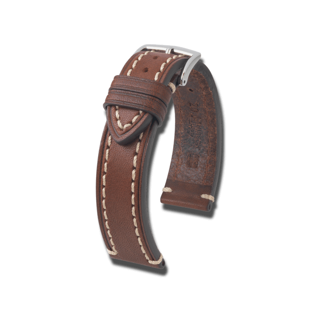 Uhren-Armband Hirsch Liberty Braun Uhren-Armband mit silberfarbener Dornschließe | Anstoßbreite 20 mm | Länge 22 cm bei Brogle