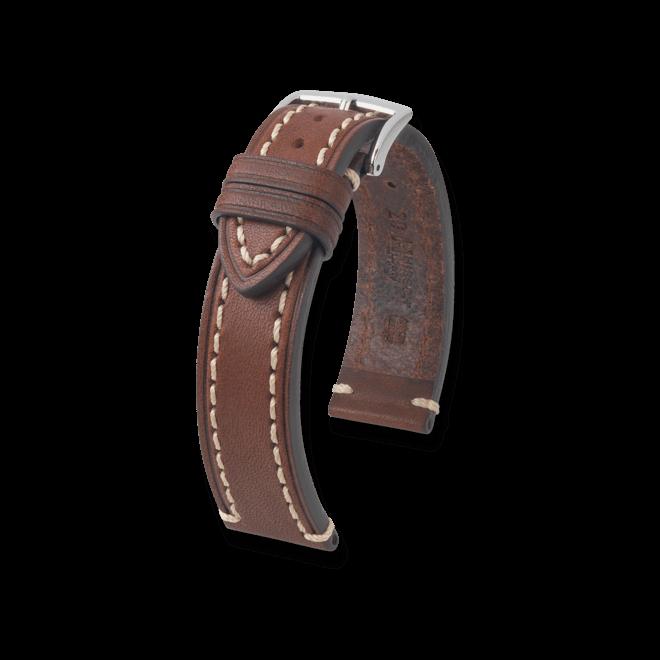 Uhren-Armband Hirsch Liberty Schwarz Uhren-Armband mit silberfarbener Dornschließe | Anstoßbreite 22 mm | Länge 20 cm bei Brogle