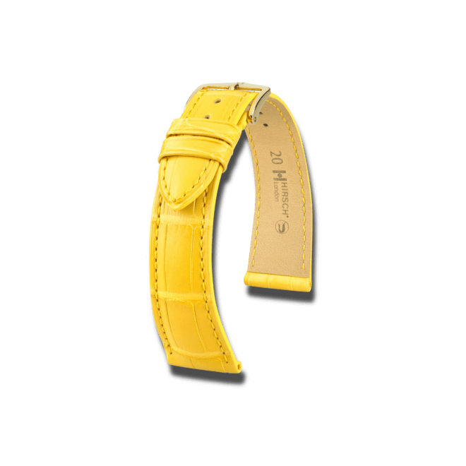 Uhren-Armband Hirsch London Blau Matt Uhren-Armband mit goldfarbener Dornschließe   Anstoßbreite 20 mm   Länge 18 cm bei Brogle