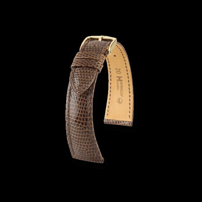Uhren-Armband Hirsch London Braun Uhren-Armband mit goldfarbener Dornschließe   Anstoßbreite 18 mm   Länge 20 cm bei Brogle