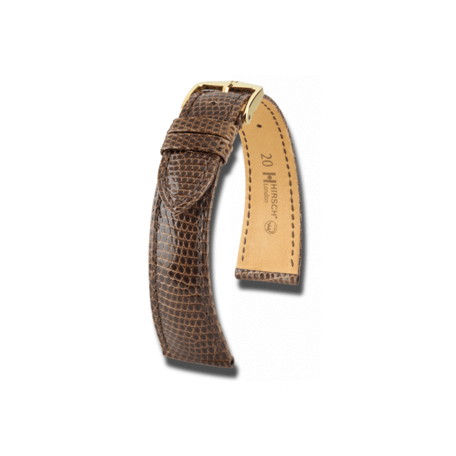 Uhren-Armband Hirsch London Schwarz Uhren-Armband mit goldfarbener Dornschließe | Anstoßbreite 16 mm | Länge 18 cm bei Brogle