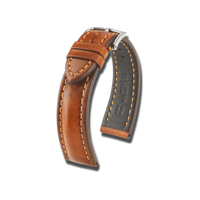 Uhren-Armband Hirsch Lucca Goldbraun Uhren-Armband mit silberfarbener Dornschließe | Anstoßbreite 22 mm | Länge 20 cm bei Brogle