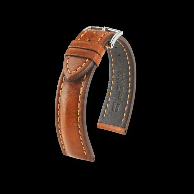 Uhren-Armband Hirsch Lucca Schwarz Uhren-Armband mit silberfarbener Dornschließe | Anstoßbreite 24 mm | Länge 20 cm bei Brogle