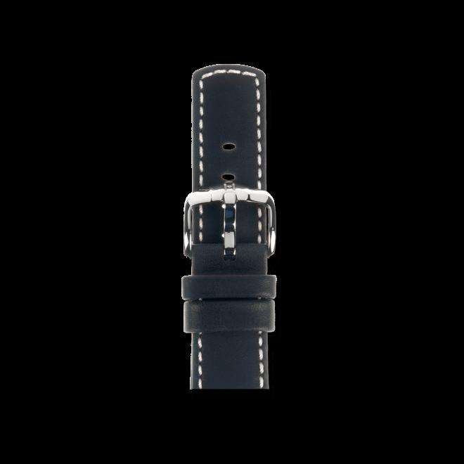 Uhren-Armband Hirsch Mariner Schwarz Uhren-Armband mit silberfarbener Dornschließe | Anstoßbreite 20 mm | Länge 20 cm bei Brogle