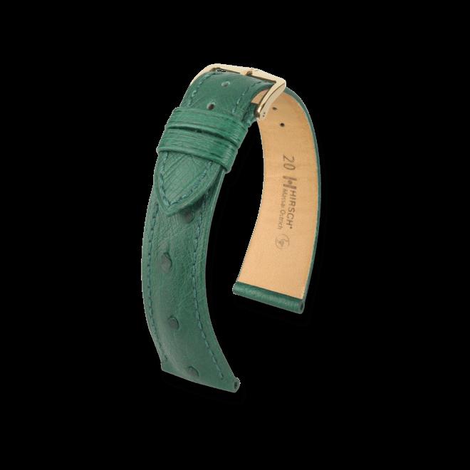 Uhren-Armband Hirsch Massai Ostrich Grün Uhren-Armband mit goldfarbener Dornschließe   Anstoßbreite 20 mm   Länge 20 cm bei Brogle