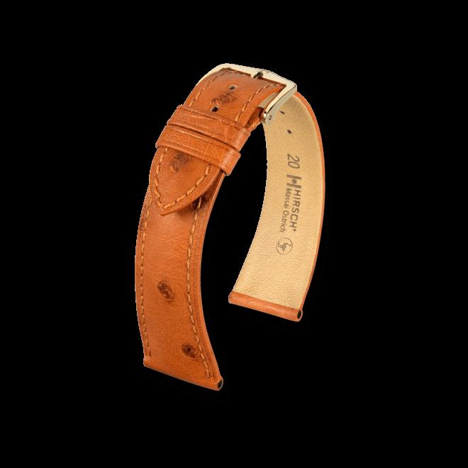 Uhren-Armband Hirsch Massai Ostrich Schwarz Uhren-Armband mit goldfarbener Dornschließe   Anstoßbreite 21 mm   Länge 20 cm bei Brogle