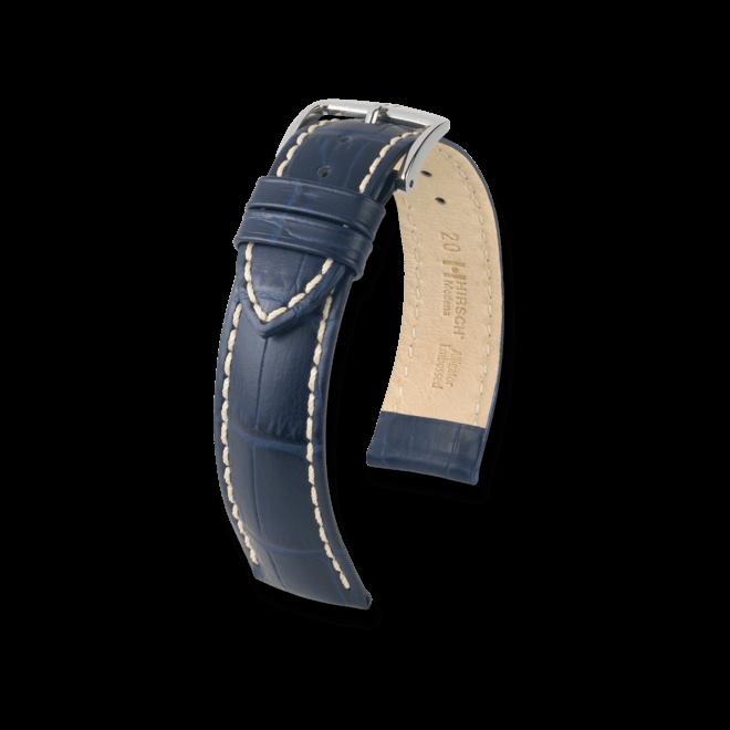 Uhren-Armband Hirsch Modena Blau Uhren-Armband mit silberfarbener Dornschließe   Anstoßbreite 24 mm   Länge 20 cm bei Brogle