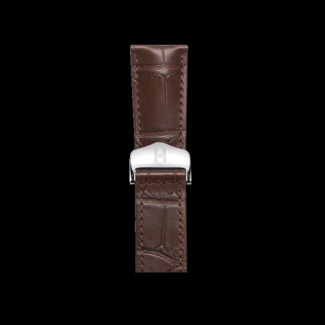 Uhren-Armband Hirsch Momento Braun Matt Uhren-Armband mit silberfarbener Faltschließe | Anstoßbreite 18 mm | Länge 20 cm bei Brogle