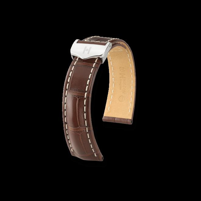 Uhren-Armband Hirsch Navigator Dunkelbraun Matt Uhren-Armband mit silberfarbener Faltschließe   Anstoßbreite 20 mm   Länge 20 cm bei Brogle