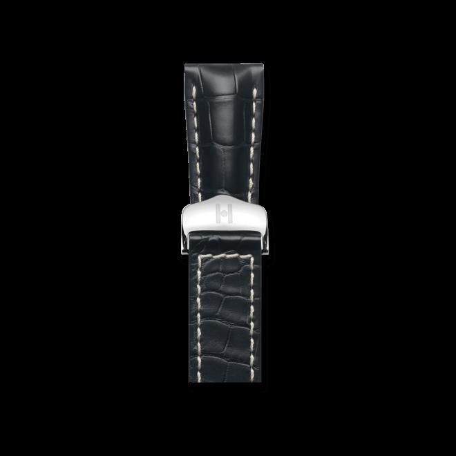 Uhren-Armband Hirsch Navigator Schwarz Matt Uhren-Armband mit silberfarbener Faltschließe | Anstoßbreite 20 mm | Länge 20 cm bei Brogle