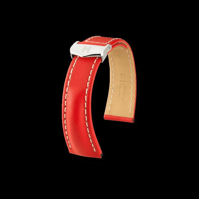 Uhren-Armband Hirsch Navigator Schwarz Uhren-Armband mit silberfarbener Faltschließe | Anstoßbreite 22 mm | Länge 20 cm bei Brogle