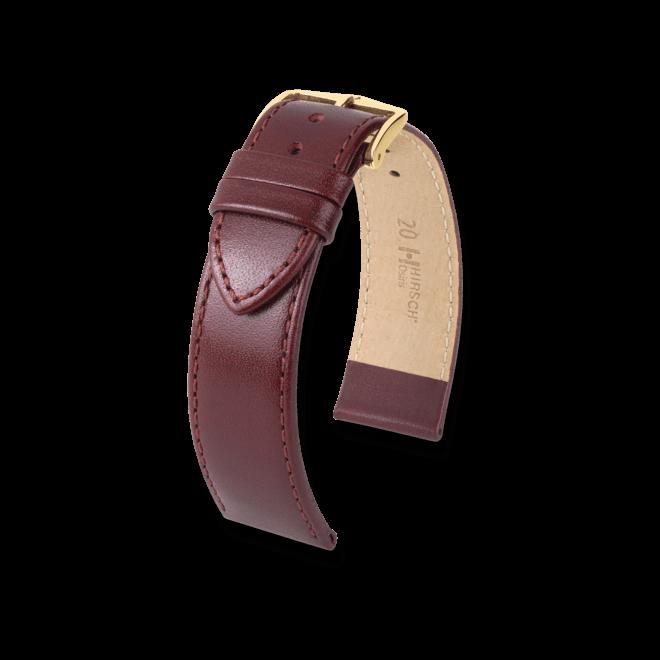 Uhren-Armband Hirsch Osiris Rot Uhren-Armband mit goldfarbener Dornschließe   Anstoßbreite 14 mm   Länge 18 cm bei Brogle
