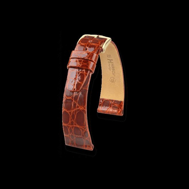 Uhren-Armband Hirsch Prestige Goldbraun Uhren-Armband mit goldfarbener Dornschließe | Anstoßbreite 19 mm | Länge 20 cm bei Brogle