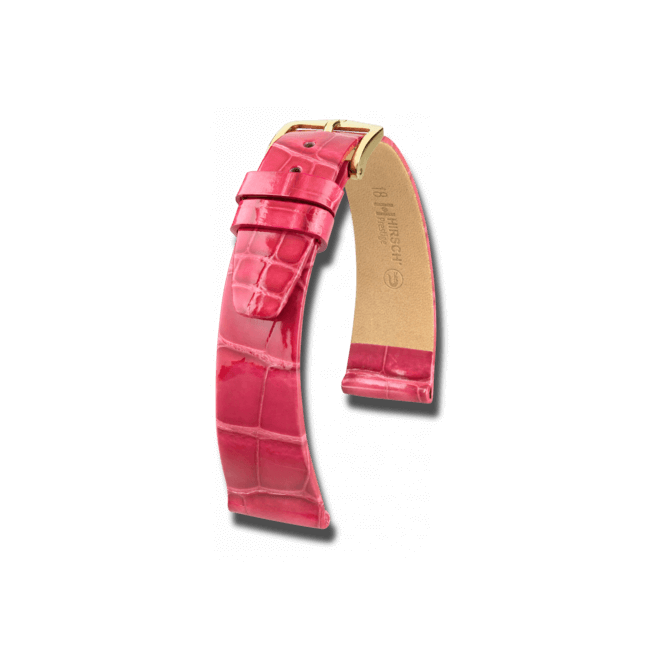 Uhren-Armband Hirsch Prestige Schwarz Uhren-Armband mit goldfarbener Dornschließe | Anstoßbreite 17 mm | Länge 20 cm bei Brogle