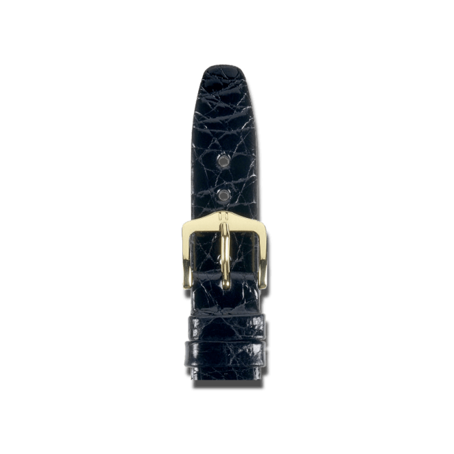 Uhren-Armband Hirsch Prestige Schwarz Uhren-Armband mit goldfarbener Dornschließe | Anstoßbreite 19 mm | Länge 20 cm bei Brogle