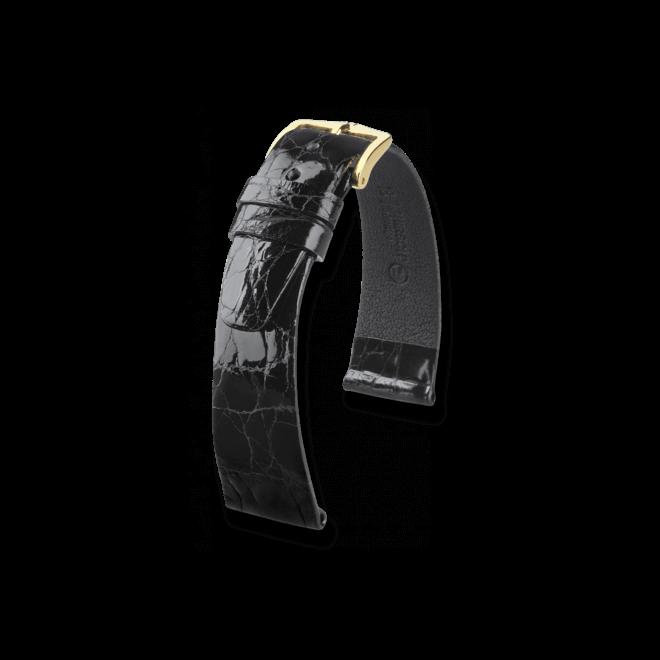 Uhren-Armband Hirsch Prestige Schwarz Uhren-Armband mit goldfarbener Dornschließe | Anstoßbreite 20 mm | Länge 20 cm bei Brogle