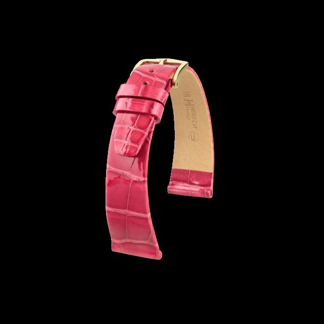Uhren-Armband Hirsch Prestige Schwarz Uhren-Armband mit goldfarbener Dornschließe | Anstoßbreite 14 mm | Länge 18 cm bei Brogle