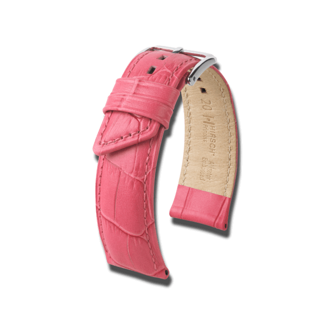 Uhren-Armband Hirsch Princess Pink Uhren-Armband mit silberfarbener Dornschließe   Anstoßbreite 18 mm   Länge 18 cm bei Brogle