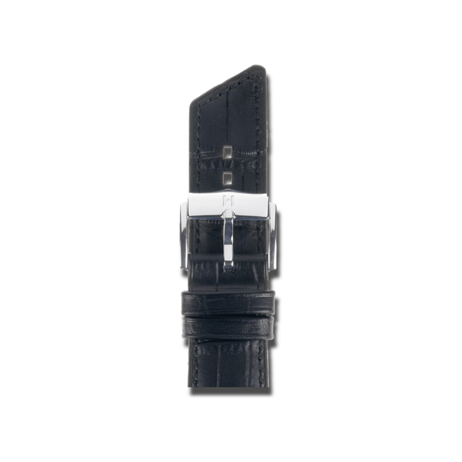 Uhren-Armband Hirsch Princess Schwarz Uhren-Armband mit silberfarbener Dornschließe | Anstoßbreite 16 mm | Länge 18 cm bei Brogle