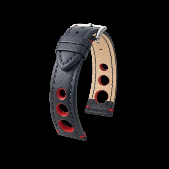 Uhren-Armband Hirsch Rally Schwarz Uhren-Armband mit silberfarbener Dornschließe   Anstoßbreite 20 mm   Länge 20 cm bei Brogle