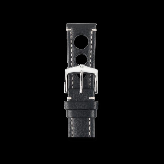 Uhren-Armband Hirsch Rally Schwarz Uhren-Armband mit silberfarbener Dornschließe | Anstoßbreite 22 mm | Länge 20 cm bei Brogle
