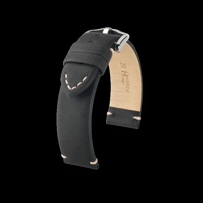 Uhren-Armband Hirsch Ranger Schwarz Uhren-Armband mit silberfarbener Dornschließe | Anstoßbreite 20 mm | Länge 20 cm bei Brogle