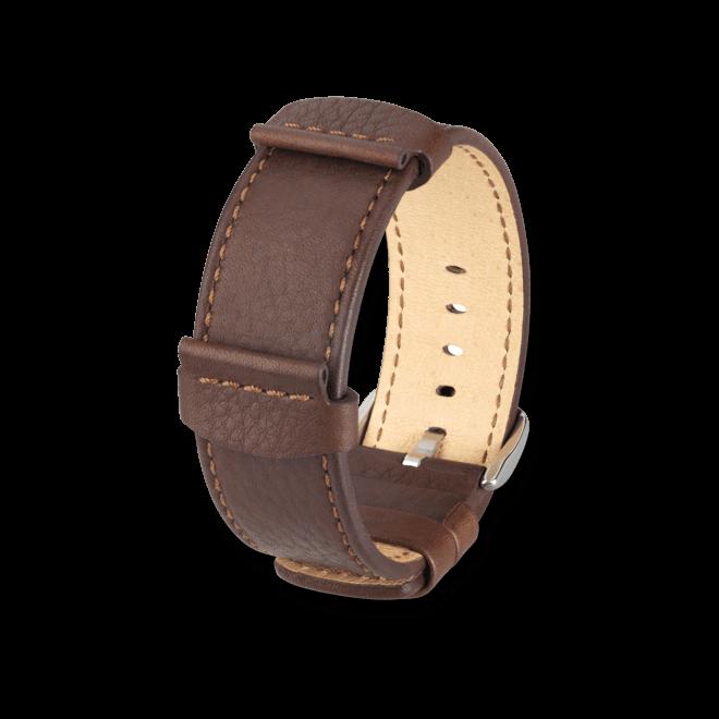 Uhren-Armband Hirsch Rebel Braun Uhren-Armband mit silberfarbener Dornschließe | Anstoßbreite 24 mm | Länge 20 cm bei Brogle