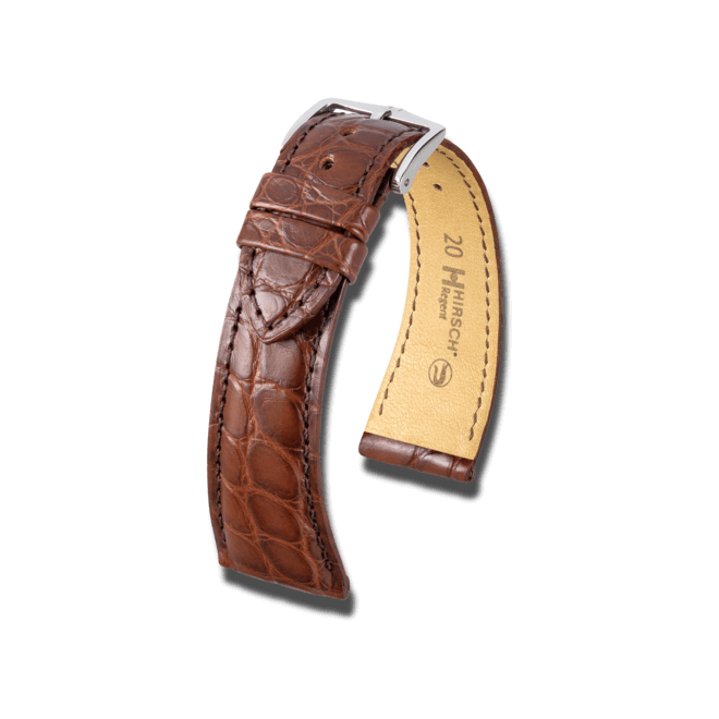 Uhren-Armband Hirsch Regent Braun Matt Uhren-Armband mit silberfarbener Dornschließe   Anstoßbreite 18 mm   Länge 20 cm bei Brogle