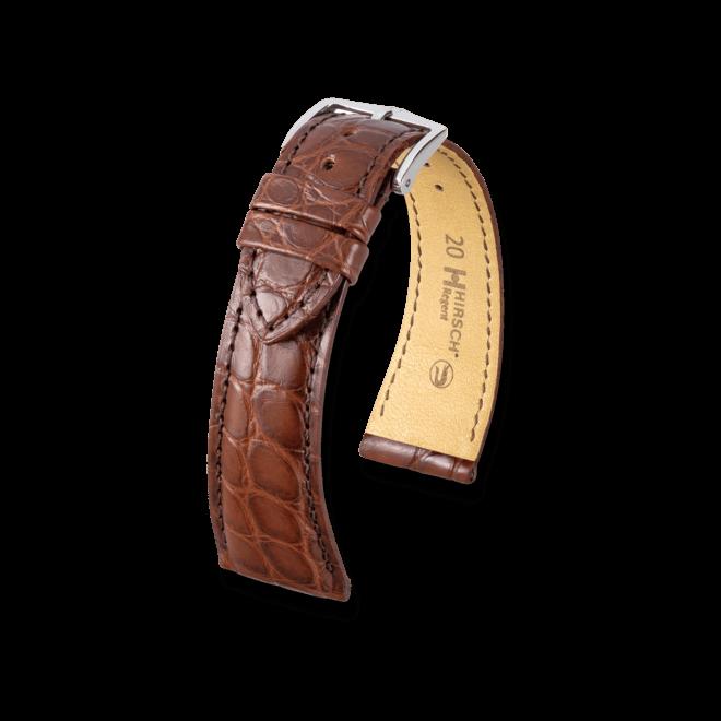 Uhren-Armband Hirsch Regent Braun Matt Uhren-Armband mit silberfarbener Dornschließe | Anstoßbreite 20 mm | Länge 20 cm bei Brogle