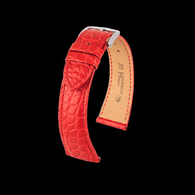 Uhren-Armband Hirsch Regent Rot Uhren-Armband mit silberfarbener Dornschließe   Anstoßbreite 20 mm   Länge 18 cm bei Brogle