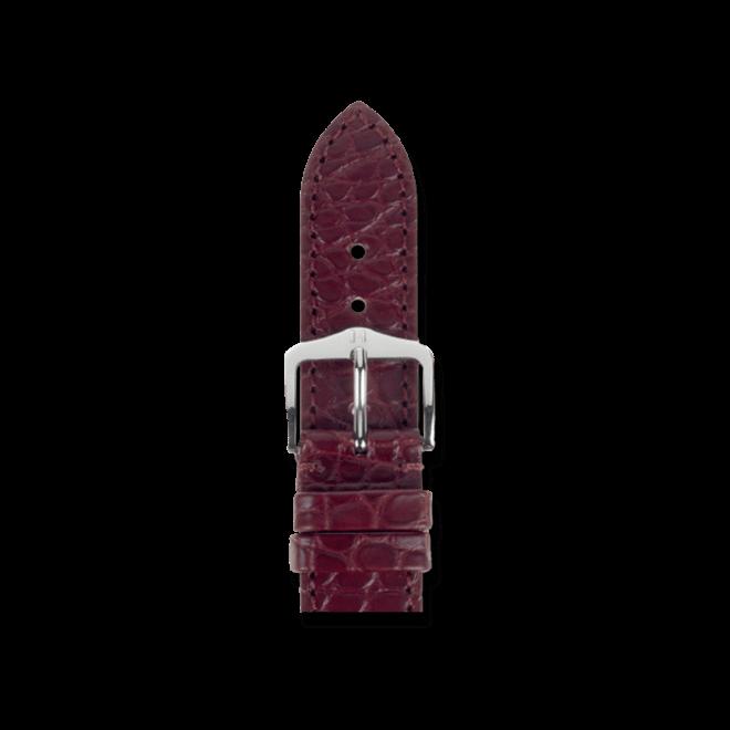 Uhren-Armband Hirsch Regent Weinrot Matt Uhren-Armband mit silberfarbener Dornschließe | Anstoßbreite 20 mm | Länge 20 cm bei Brogle