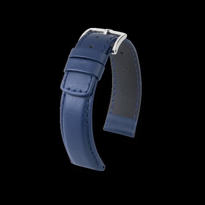 Uhren-Armband Hirsch Runner Blau Uhren-Armband mit silberfarbener Dornschließe   Anstoßbreite 24 mm   Länge 20 cm bei Brogle