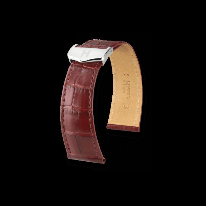Uhren-Armband Hirsch Savoir Braun Matt Uhren-Armband mit silberfarbener Faltschließe | Anstoßbreite 14 mm | Länge 19,50 cm