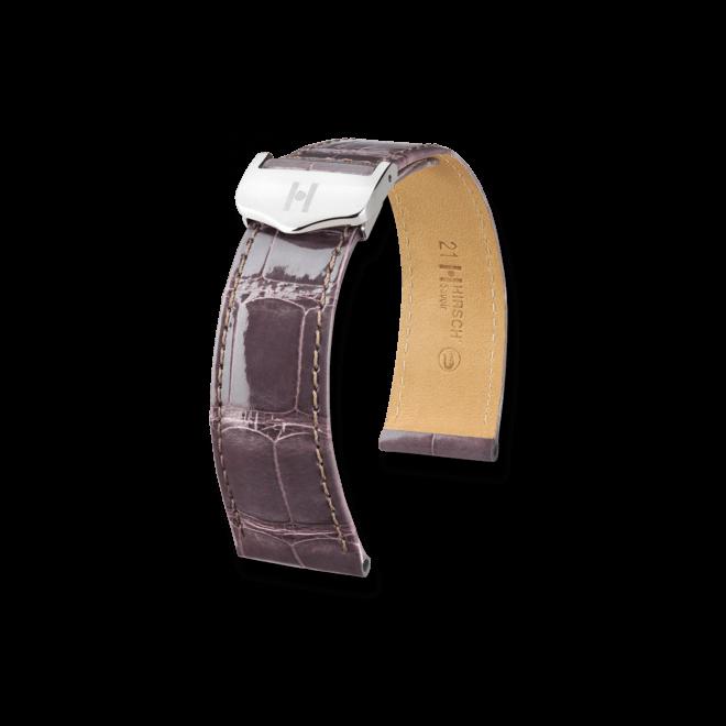 Uhren-Armband Hirsch Savoir Dunkelbraun Matt Uhren-Armband mit silberfarbener Faltschließe   Anstoßbreite 21 mm   Länge 20 cm