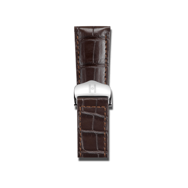Uhren-Armband Hirsch Savoir Dunkelbraun Matt Uhren-Armband mit silberfarbener Faltschließe | Anstoßbreite 14 mm | Länge 20 cm