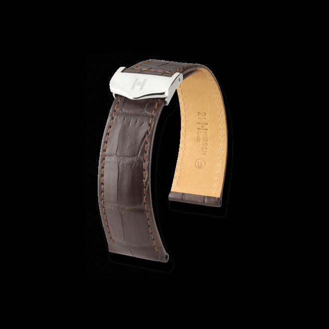 Uhren-Armband Hirsch Savoir Dunkelbraun Matt Uhren-Armband mit silberfarbener Faltschließe   Anstoßbreite 19 mm   Länge 20 cm