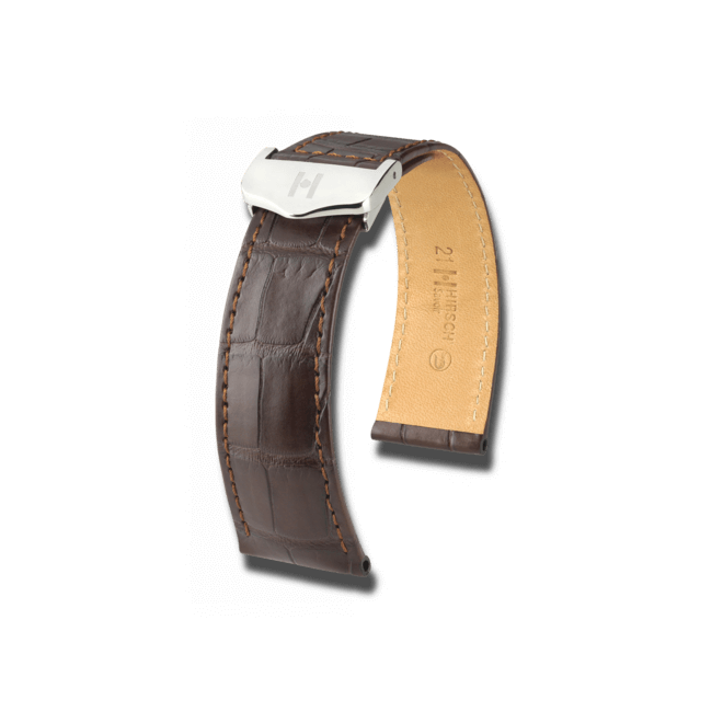 Uhren-Armband Hirsch Savoir Dunkelbraun Matt Uhren-Armband mit silberfarbener Faltschließe | Anstoßbreite 21 mm | Länge 20 cm bei Brogle